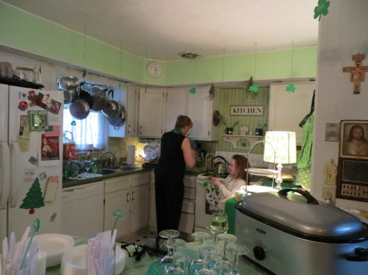 The lovely Maura, in her Irish-green kitchen...